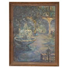 Impressionist Garden Landscape w/ Fountain & Figures by Ione Smith c.1967