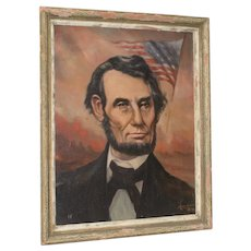 Abraham Lincoln American President Oil Portrait by Duke Yoshii c.1958