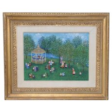 "Mollie Simon ""Bandstand in the Park"" Original Oil Painting c.1960s"