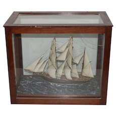 19th Century Schooner Model in Mahogany Case