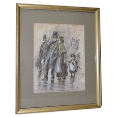 "Louis van der Pol ""Family in the Rain"" Original Charcoal & Watercolor Painting"