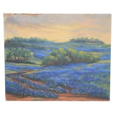 Texas Bluebonnet Landscape Oil Painting by Roy Koehler c.1940s