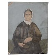 19th Century Portrait of a Woman on Tin
