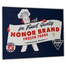 Honor Brand Frozen Foods Advertising Board c.1940s