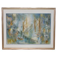 "Mid Century Modern ""Busy Bay Area"" Watercolor by Winifred Shaffer c.1960s"