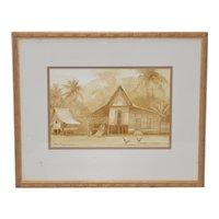 """Vintage """"Malaysia"""" Brown Wash Watercolor c.1980s"""