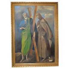 St. Francis & St. Peter Vintage Oil Painting After El Greco c.1940