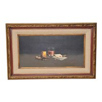 """Vintage """"Ace of Hearts"""" Still Life Oil Painting c.1970"""