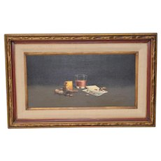 "Vintage ""Ace of Hearts"" Still Life Oil Painting c.1970"