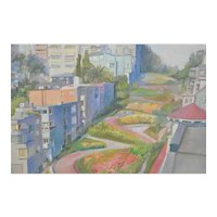 Vintage Watercolor - Lombard Street, San Francisco