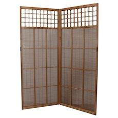 Vintage Wood & Wicker Two Panel Free Standing Shoji Screen c.1970s