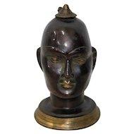 Bronze Buddha Head Incense Burner Early 20th Century