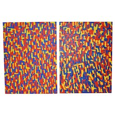 "Mary Anne Rose ""Meditation on Imitation"" Acrylic on Canvas Diptych c.1976"