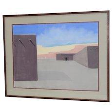 Vintage Southwest Adobe Landscape Original Pastel Painting c.1985