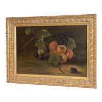 "19th Century ""Fruit Table"" Still Life Oil Painting"
