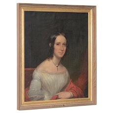 Superb Mid to Late 19th Century Portrait of an Elegant Young Woman