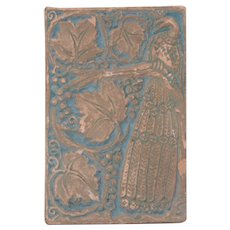 "Ernest A. Batchelder Arts & Crafts Terra Cotta ""Peacock"" Tile c.1920s"