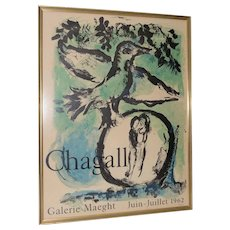 """Marc Chagall (1887-1985) """"The Green Bird"""" Exhibition Lithograph c.1962"""