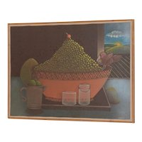 Carveth Hilton Kramer (New York) Whimsical Still Life Oil Painting c.1970s
