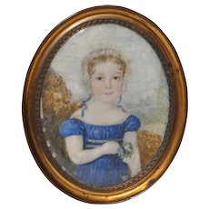 American Miniature Portrait of a Young Girl c.1850s