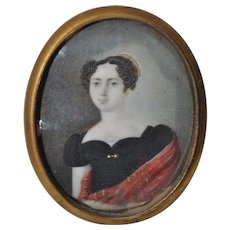 Elegant Miniature Portrait of a Young Woman in a Black Dress c. 18th to 19th c.