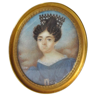Mid 19th Century English School Miniature Portrait of a Lady in a Blue Dress