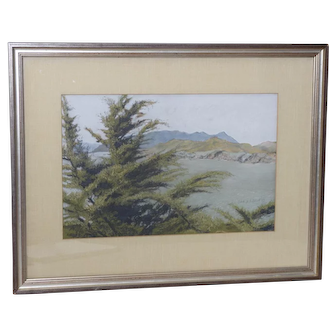 Mount Tamalpais Original Pastel Painting by Clark G. Mitchell c.1983