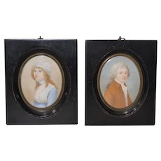 Pair of Mid 19th Century American Portrait Miniatures by Cosway
