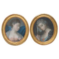 Pair of 18th / 19th Century French School Pastel Portraits of Young Ladies