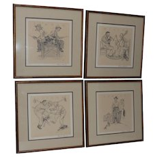"Norman Rockwell ""Four Seasons Suite"" Pencil Signed / Numbered Lithographs c.1970"