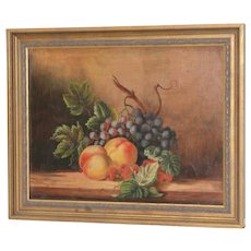 "19th Century Americana ""Fruit Table"" Still Life Oil Painting"