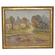 Late 19th Century Country Village Landscape Oil Painting Signed