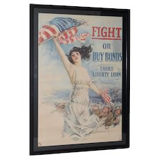 "Howard Chandler Christy ""Fight or Buy Bonds"" World War I Propaganda Poster c.1917"