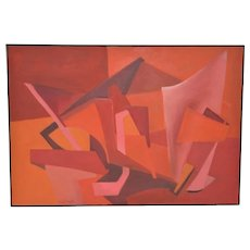Mid Century Modern Geometric Abstract Painting by Wallach