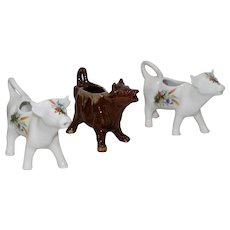 Lot of Three Vintage French Cow Creamers