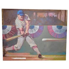 Monumental Baseball Painting by Noted Artist / Illustrator O.J. Watson c.1989