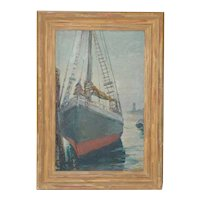 """Unidentified Impressionist """"Starboard Bow at Harbor"""" Oil Painting c.1940s"""
