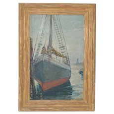 "Unidentified Impressionist ""Starboard Bow at Harbor"" Oil Painting c.1940s"