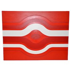Vintage Red & White Op Art Painting by Charles Hersey c.1970s