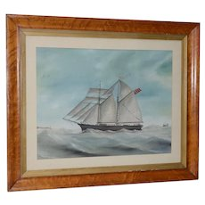 """Original Watercolor of the British Ship """"Kate"""" Out at Sea c.1890s to 1910"""