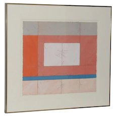 Mid Century Mixed Media Modernist Landscape by Laurent Sarlatte c.1979