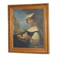 Italian School Portrait of a Young Woman Threading Flower Wreaths 18th to 19th Century