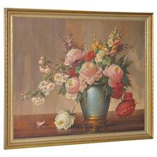"Alfonso Toran ""Floral Still Life"" Original Oil Painting c.1950"