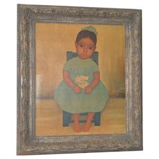 Gustavo Montoya Vintage Print of a Seated Child Holding Flowers c.1950s