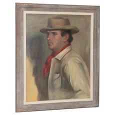Fine Oil Portrait of a Handsome Cowboy by Germaine c.1940s