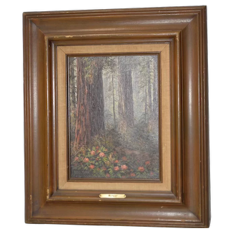 California Redwood Forest Oil Painting by Paul Moon c.1977