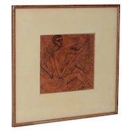 Vintage Geometric Figural Abstract Drawing