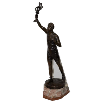 Julius Paul Schmidt-Felling Olympic Torch Bearer Bronze Sculpture on Marble Base c.1910