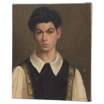 Early 20th Century Oil Portrait of a Young Man c.1920s to 1930s