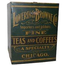 Antique Advertising Painted Metal Tea & Coffee Bin c.1900